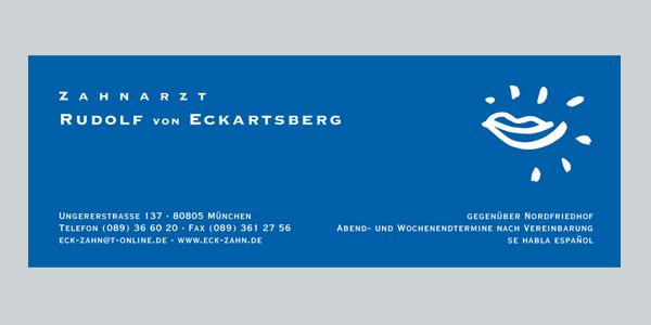 ZZahnarzt v. Eckartsberg München, Marketingberatung, Online-Marketing, Offline-Marketing, Praxismarketing, Corporate Identity  Corporate Design, Logoentwicklung, Flyer, Webdesign, Geschäftsausstattung